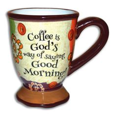 Good Morning Ceramic Stoneware 16 ounce Pedestal Inspirational Coffee Mug by Divinity Boutique * Click image to review more details. (This is an affiliate link and I receive a commission for the sales)