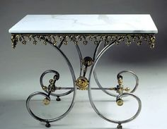 French Pastry Table With Carrara Marble Top