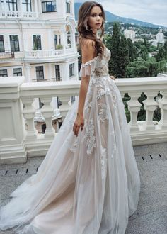 A Line Bridal Gowns, Tulle Wedding Gown, Applique Wedding Dress, Bohemian Wedding Dresses, Long Wedding Dresses, Bridal Dresses, Lace Wedding, Off Shoulder Wedding Dress Bohemian, Bride Gowns