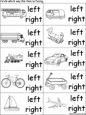 Circle the Direction Vehicles are Facing - Learning Left and Right Cloze Activity, Activity Sheets, Nursery Worksheets, Printable Worksheets, First Grade Worksheets, Kindergarten Worksheets, Visual Perceptual Activities, Enchanted Learning, Math Boards