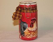 Rooster Handpainted Storage Jar....Clamp Lid...Food Safe..Air tight..Collector..Rooster Decor..Country Home..Rooster Kitchen..Rooster Lover