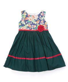 Look what I found on #zulily! Dark Teal & Floral A-Line Dress - Toddler & Girls #zulilyfinds