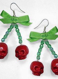 Cherry skull earrings,  Jewelry, cherry rockabilly psychobilly pinup skull, rockabilly