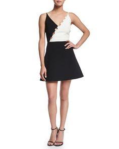 Bicolor+Crepe+Fit-and-Flare+Dress,+Black/White+by+David+Koma+at+Bergdorf+Goodman.