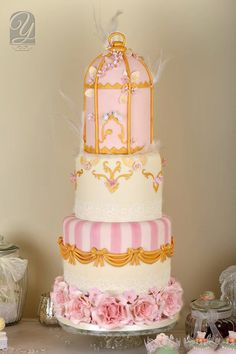 Chic Gold and Pink birdcage Cake ~ all edible ~ terrific job!