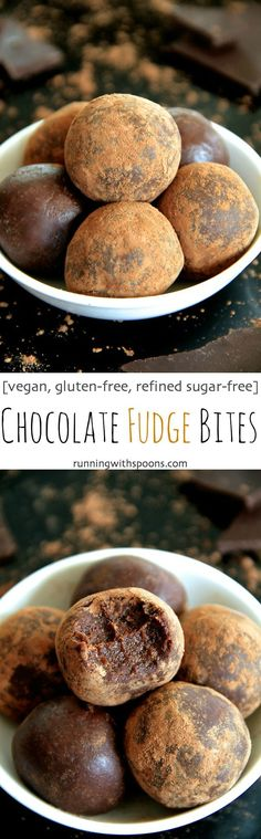 Chocolate Fudge Bites - Soft tender and loaded with chocolate flavour these melt-in-your-mouth bites taste ridiculously decadent while being made with good-for-you ingredients Gluten-free vegan and customizable depending on your dietary needs this Vegan Sweets, Vegan Desserts, Healthy Desserts, Dessert Recipes, Healthy Chocolate Snacks, Chocolate Fudge, Chocolate Flavors, Chocolate Desserts, Chocolate Covered