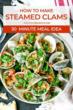 Learn how to make perfect Steamed Clams every time using a spicy tomato sauce! This is a low carb, gluten-free and quick meal you will love! Clam Recipes, Spicy Recipes, Veggie Recipes, Fish Recipes, Seafood Recipes, Gluten Free Recipes, Healthy Recipes, Yummy Recipes, Veggie Meals