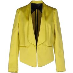 Christian Pellizzari Blazer ($275) ❤ liked on Polyvore featuring outerwear, jackets, blazers, yellow, long sleeve jacket, multi pocket jacket, yellow jacket, long sleeve blazer and single breasted jacket