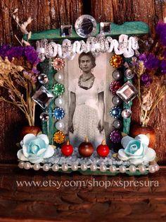 Frida-Kahlo-Nicho / Mexican Artist Shrine / Day-of-the-Dead Friducha Altar / Dia-de-los-Muertos Handmade Retablo on Etsy, $27.00