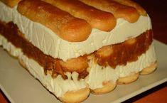 Acest tort cu piscoturi este unul ce se prepara foarte rapid pentru ca nu necesita coacere. Este o reteta foarte simpla iar rezultatul este unul minunat ce cu siguranta ii va uimi pe cei ce il vor gusta. Ingrediente pentru crema: 300 gr cremă de brânză 125 gr de iaurt, 200 ml de smântână 100 … Sweets Recipes, Cake Recipes, Tiramisu Recipe, Romanian Food, Icebox Cake, Sweet Tarts, Sweet Desserts, Appetizers For Party, Hot Dog Buns