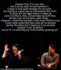 Jensen Ackles on Jared Padalecki