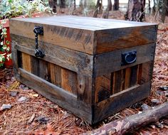 Art supplies - also seating ith cushions on top Recycled Pallet Chest / Toy Box / Coffee Table Pallet Trunk, Pallet Chest, Wood Chest, Pallet Couch, Pallet Crafts, Pallet Projects, Woodworking Projects, Woodworking Wood, Diy Projects
