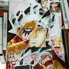 Law Trafalgar and Corazon/Rosinante ( so sad ) <3 One piece #drawing