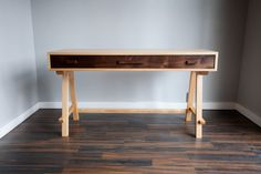 Contemporary desk of maple and walnut by RossittoWoodworks on Etsy, $1250.00