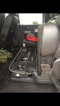 Gun Safe Under the Seat. I Don't need an AR but Preferably for the Rifle and my Hand Gun. Hidden Gun Storage, Weapon Storage, Tactical Truck, Tactical Gear, Tactical Wall, Rifles, Airsoft, Truck Storage, Seat Storage
