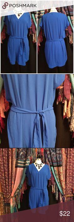 H&M cobalt blue shift dress with belted waist Size 6. V-neck shift dress with tie at waist. 100% polyester. EUC H&M Dresses