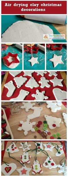 Air drying clay ornements Air drying kid made clay christmas ornaments. These beautiful festive decorations are made by children and are great keepsakes from Mum in the Mad House Clay Christmas Decorations, Christmas Clay, Diy Christmas Ornaments, Homemade Christmas, Christmas Holidays, Christmas Gifts, Christmas Photos, Homemade Xmas Decorations, Christmas Tables