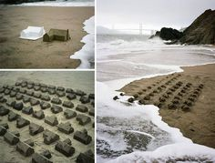 Installation A Sand Castle Suburb Consumed by the Ocean.