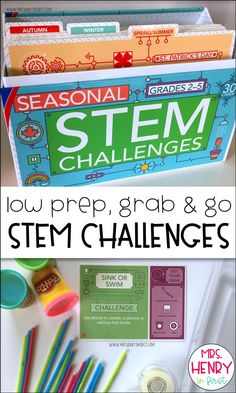 Low Prep Grab and Go STEM Herausforderungen - Vorschule Learning Cards, Stem Learning, Project Based Learning, Earth Day Activities, Stem Activities, Reading Activities, Stem Science, Life Science, Physical Science