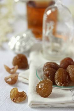 Candied chestnuts recipe - an ultimate Parisian French edible gift for Christmas… Just Desserts, Delicious Desserts, Yummy Food, Chestnut Recipes, Xmas Food, Edible Gifts, Sweet Recipes, Sweet Tooth, Food And Drink