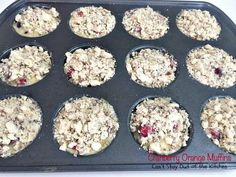 These lovely muffins have super humongous muffin tops and are incredibly festive and beautiful. Filled with cranberries, orange juice and zest and pecans, with a delightful streusel and orange glaze, they make an amazing holiday breakfast. Cranberry Rice, Cranberry Orange Muffins, Blueberry Cupcakes, Blueberry Bread, Take A Meal, Lemon Frosting, Baking Muffins, Streusel Topping, Pastry Blender