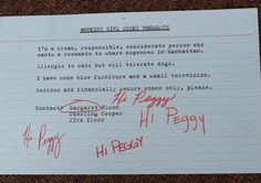 """Peggy's original ad looking for a roommate in Season 4's """"The Arrangements""""."""