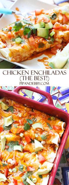 Best EVER Chicken Enchiladas   ok, these are the BEST enchiladas, people. SUPER easy weeknight dinner (done in 50 min!) and make them as spicy or as mild as you would like! #mexicanfood