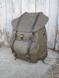 3092be8656 Vintage Swiss military rucksack backpack rubberized canvas construction