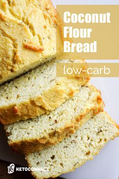 The simplest Keto Coconut Flour Bread recipe you'll ever find. We added rosemary and garlic to eliminate the eggy taste and increase the flavor! Keto Bread Coconut Flour, Coconut Bread Recipe, Easy Keto Bread Recipe, Keto Banana Bread, Best Keto Bread, Coconut Flour Recipes, Lowest Carb Bread Recipe, Low Carb Bread, Almond Recipes