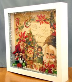 use shadow box glue scrapbook paper inside glue something cute inside -You're really good at shadowboxes! Victorian Christmas, Christmas Art, Christmas Projects, All Things Christmas, Vintage Christmas, Christmas Holidays, Christmas Ornaments, Christmas Travel, Cheap Christmas