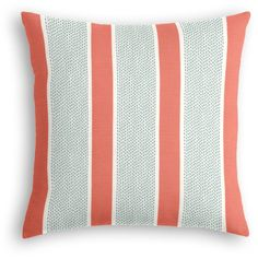 Loom Decor Coral Pink & Green Dotted Stripe Custom Throw Pillow... (585 HRK) ❤ liked on Polyvore featuring home, home decor, throw pillows, pink accent pillows, green throw pillows, aqua accent pillows, striped accent pillows and pink throw pillows