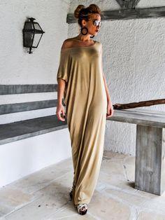 Viscose Maxi Dress   Yellow Beige Kaftan   Asymmetric Plus Size Dress    Oversize Loose Dress    35075 2489f85f907