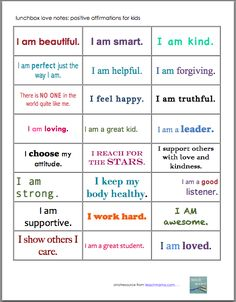 positive affirmation notes for kids: lunchbox love