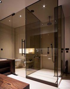 Modern Smoke Glass in Bathroom//