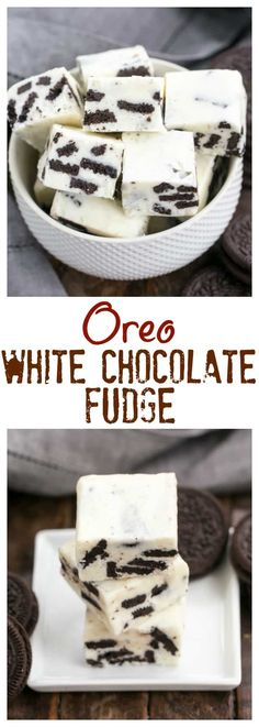 Oreo White Chocolate Fudge | A no-fail fudge with white chocolate and chunks of Oreos! #fudge #whitechocolate #oreo