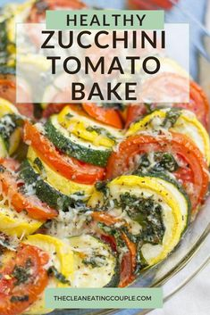 This Healthy Zucchini Tomato Bake recipe is an easy way to use up all your summer vegetables. Fresh, healthy and full of flavor- it's the perfect casserole! I make it with cheese, but you could leave the cheese off to keep this vegan. This keto, low carb side dish is delish - everyone will love it! #healthy #glutenfree #zucchini Veggie Side Dishes, Healthy Side Dishes, Vegetable Dishes, Side Dish Recipes, Food Dishes, Tomato Dishes, Healthy Sides, Baked Vegetables, Healthy Vegetables