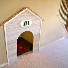Great use of space under stairs and hall Home Office Design working space Dog house under the stairs. Sweet Home, Under Stairs Dog House, House Stairs, Basement Stairs, Home And Deco, Dog Houses, Dream Houses, My New Room, My Dream Home