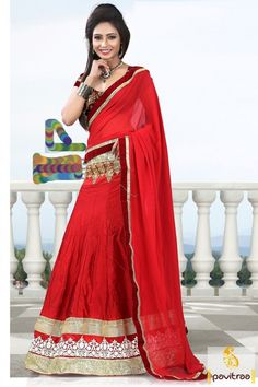 Fancy and timeless traditional wear wedding special red dhupion half saree lehenga online collection with discount price. This latest designer ghagra choli designs available with COD. #saree, #designercholi more: http://www.pavitraa.in/store/designer-collection/