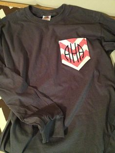 I guess im on a kick with monogramed stuff...Long Sleeve Monogramed Fabric Pocket T's by JanaBelles on Etsy, $23.95