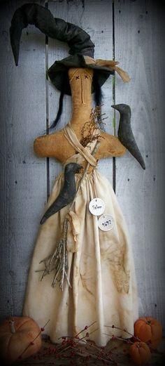 PRIMITIVE WITCH Stump Doll, Halloween Decor on Etsy, $448.43 HKD