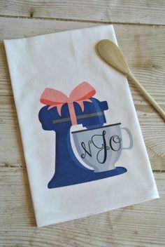 Personalized Monogram Mixer Flour Sack Tea Towel, Bridal Shower Gift, Bridal Shower Idea, Monograms and Mimosas