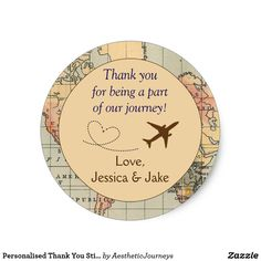 Personalised Thank You Stickers- Wedding Favors Classic Round Sticker These stickers, designed by Aesthetic Journeys, feature a map background with an adorable airplane with heart graphic. They are perfect for the destination wedding or for the couple who loves to travel. Perfect addition to your save the dates, use on the envelope for a special touch. These stickers can be personalised for your special occasion and would make the perfect item for your wedding, bridal shower, engagement…