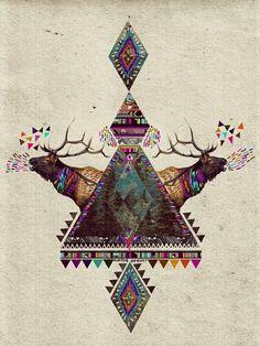 gorgeous colours  deer  aztec  art Inspire Me