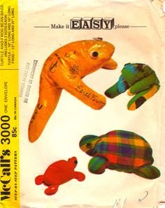 McCalls 3000, Make it Easy, Please – McCall's Step-By-Step Pattern – Turtle and Frog Bean Bags Vintage Sewing Pattern: Printed pattern for Turtle and Frog, each made in two sizes. Turtle is 10″ long (small) and 15″ long (large). Frog is 13″ long (small) and 21″ long (large). Eyes are felt circles made of scraps. For slogans and autographs use a ball point pen on bean bags.  McCalls 3000 Copyright: 1971  This pattern is uncut and factory folded. The envelope has tattering.  Suggested fabrics…