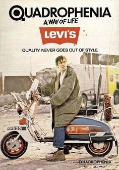 "lucienballard: ""Phil Daniels mod Jimmy Cooper advertising denim from 1965 in a still from the film Quadrophenia, United Kingdom, 1979, by Levi's. """