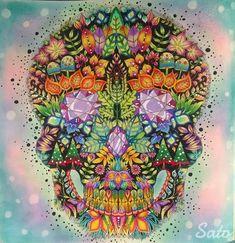 🌿💀🌿 #johannabasford #enchantedforest #florestaencantada #jardimsecreto #secretgarden #skull #awesome #beautiful #arte_e_colorir…