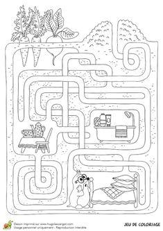 Jeu de coloriage, le labyrinthe de la taupe