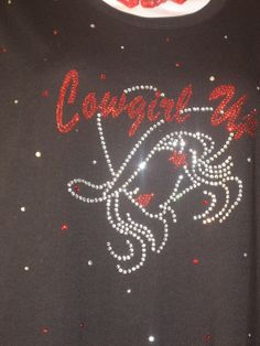 Cowgirl Up Rhinestone Transfer in Clear & Red for by cthorses66, $7.50