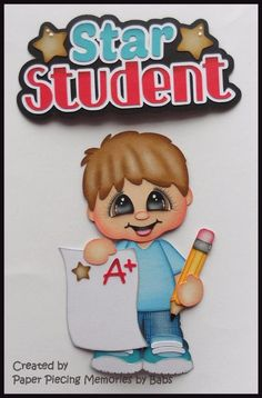 Star Student Boy Set Premade Paper Piecing Die Cut by Babs