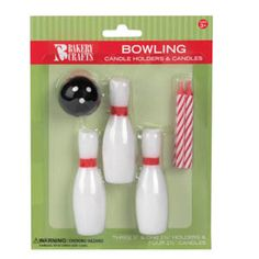 One Bowling Ball & Pins Candle Holders & Candles Set. Set includes one Bowling Ball and three Bowling Pins Candle Holders and four red Candles. Bowling Party, Bowling Pins, Bowling Ball, 6th Birthday Parties, Birthday Fun, 11th Birthday, Birthday Ideas, Birthday Cake With Candles, Party Supplies